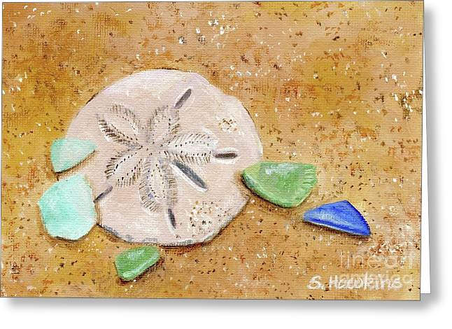 Sand Dollar And Beach Glass Greeting Card