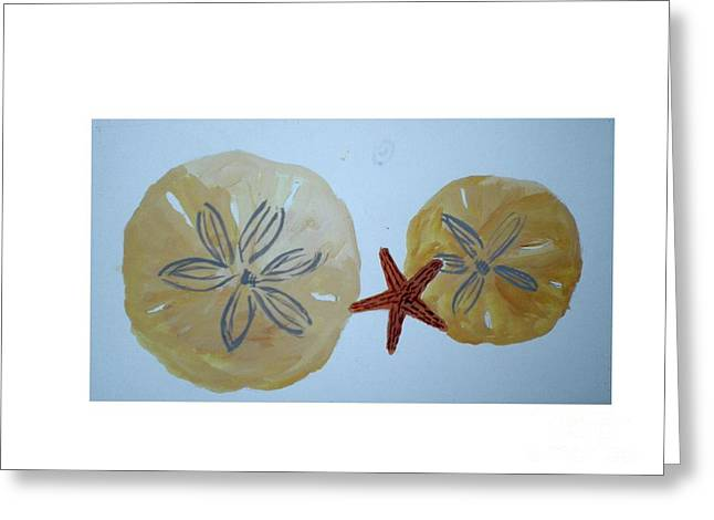 Sand Dollars With Star Fish Greeting Card by Hal Newhouser
