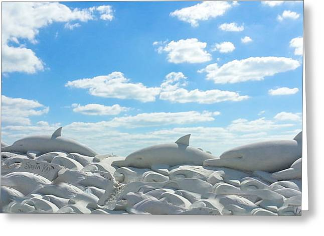 Sand Dolphins At Siesta Key Beach Greeting Card