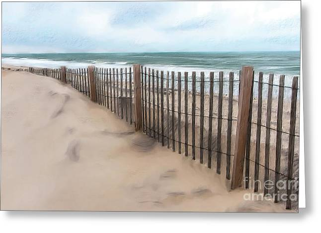 Sand Dune Fence On Outer Banks Ap Greeting Card