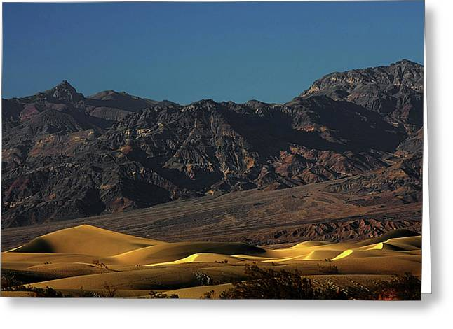 Moody Greeting Cards - Sand Dunes - Death Valleys Gold Greeting Card by Christine Till