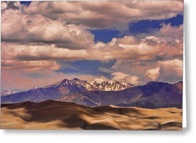 Sand Dunes - Mountains - Snow- Clouds And Shadows Greeting Card by James BO  Insogna