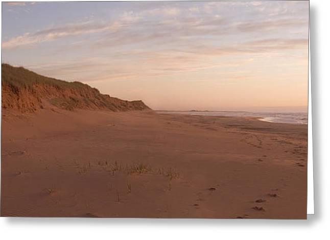 Sand Dunes Along An Empty Beach Reflect Greeting Card