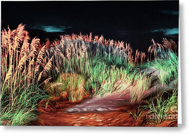 Sand Dunes At Night On The Outer Banks Ap Greeting Card