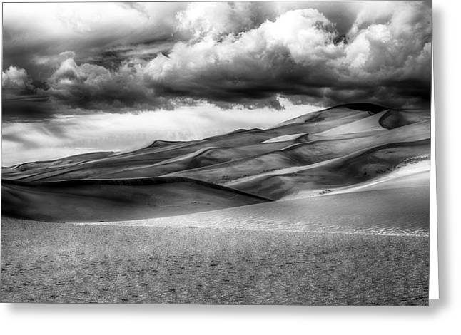 Sand Dunes In Black And White Greeting Card by Paul Freidlund