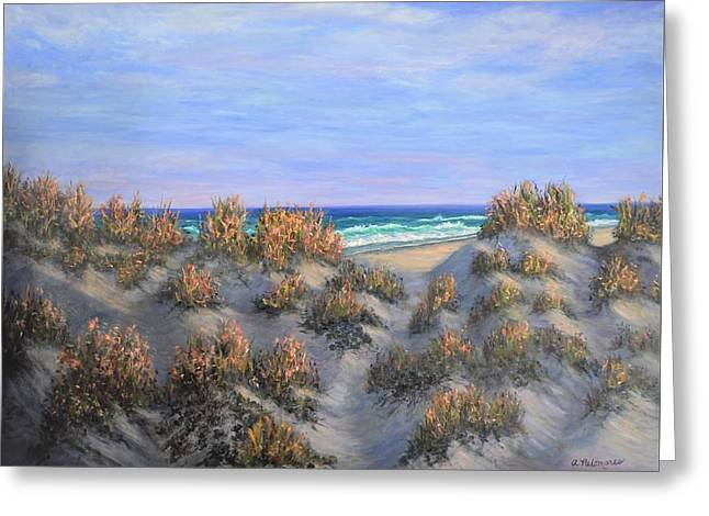 Sand Dunes Sea Grass Beach Painting Greeting Card