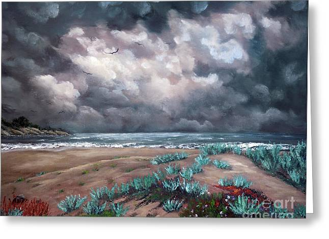Sand Dunes Under Darkening Skies Greeting Card by Laura Iverson
