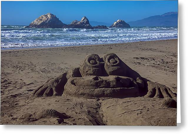 Carved Greeting Cards - Sand frog  Greeting Card by Garry Gay