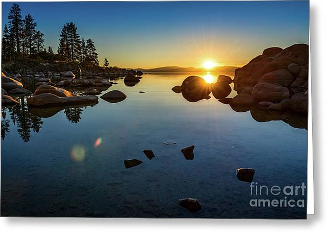 Sand Harbor Sunset Greeting Card