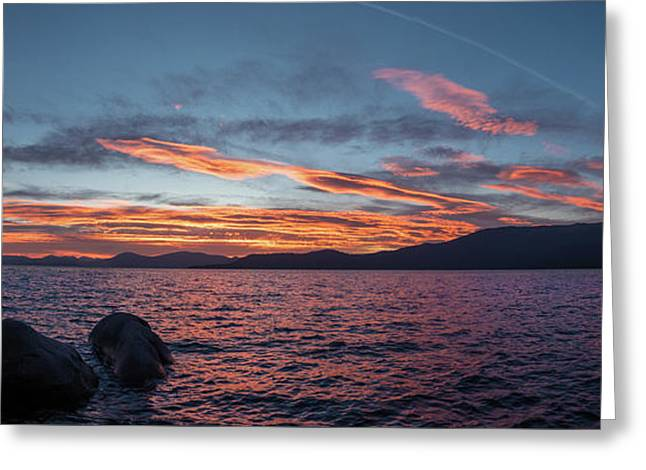 Sand Harbor Sunset Pano2 Greeting Card