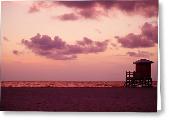 Sand Key Sunset Greeting Card by Milton Brugada