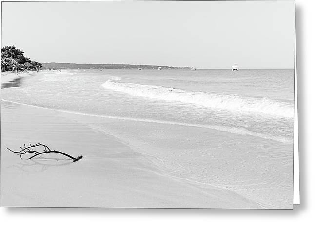 Sand Meets The Sea In Black And White Greeting Card