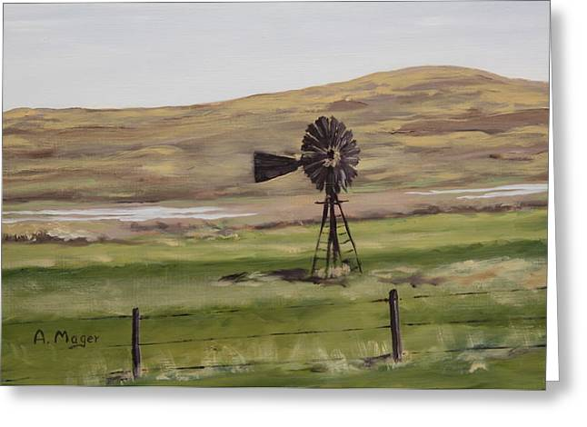 Sandhills Windmill Greeting Card by Alan Mager