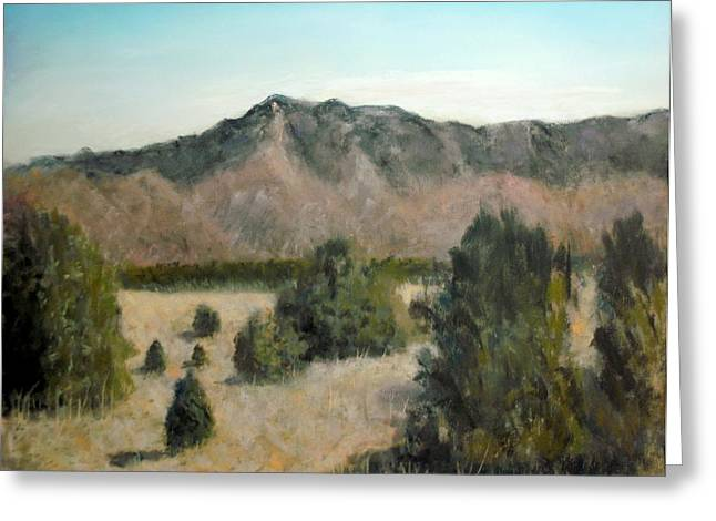 Picnic Pastels Greeting Cards - Sandia Foothills Greeting Card by John De Young