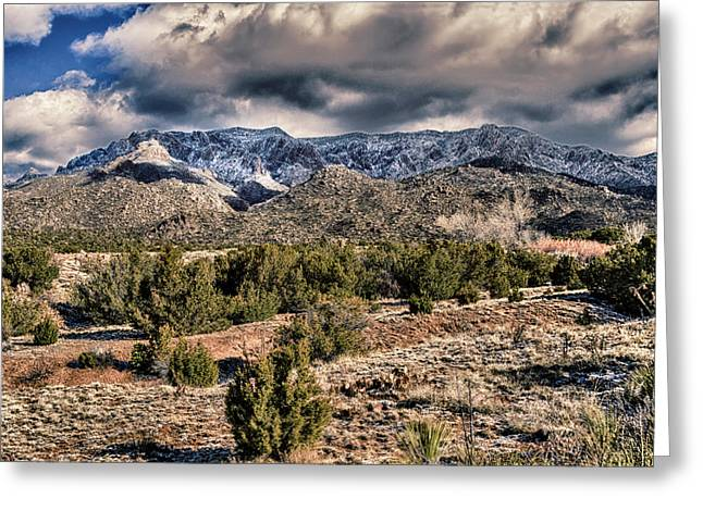 Sandia Mountain Landscape Greeting Card by Alan Toepfer