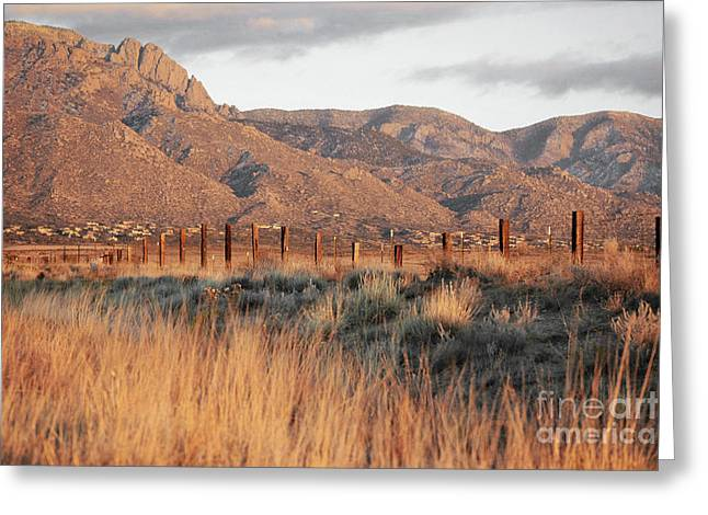 Sandia Mountains Rustic Fence Countryside Greeting Card by Andrea Hazel Ihlefeld
