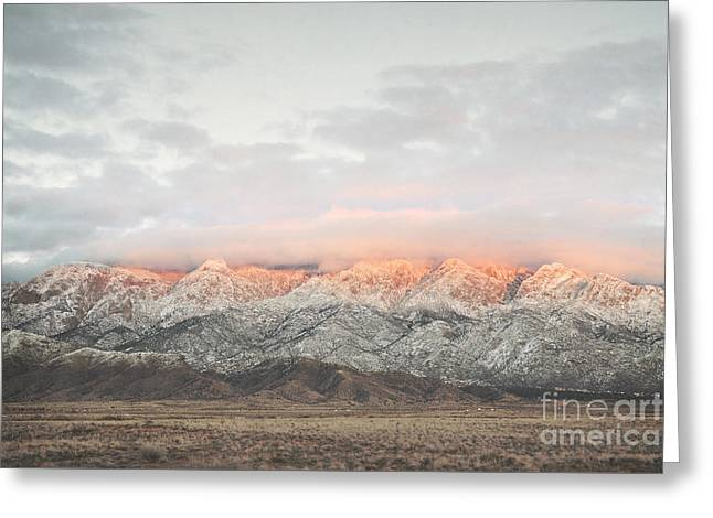 Sandia Mountains Rustic Sunset Landscape Greeting Card by Andrea Hazel Ihlefeld