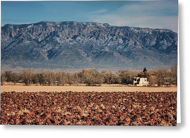 Greeting Card featuring the photograph Sandias - Los Poblanos Fields by Nikolyn McDonald