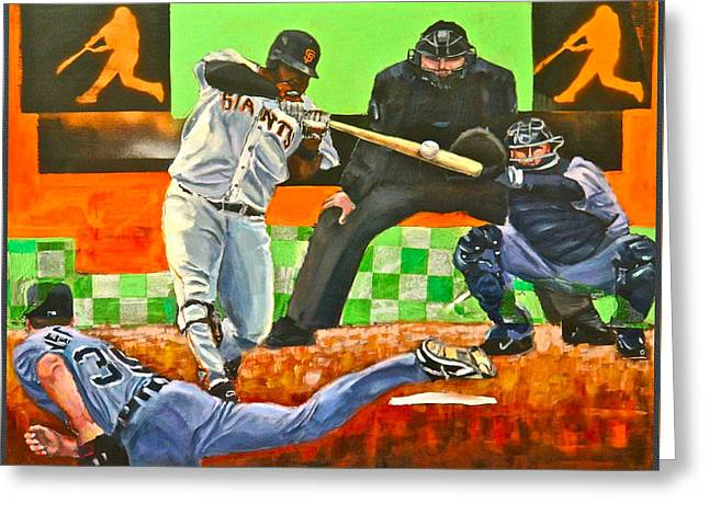 Sandoval's First Of Two Off Verlander  Greeting Card by Robert Marosi Bustamante
