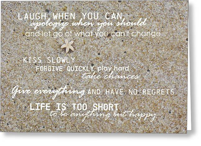 Greeting Card featuring the photograph Sands Of Happiness Quote by JAMART Photography