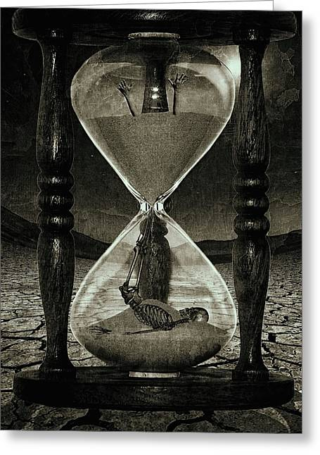 Sands Of Time ... Memento Mori - Monochrome Greeting Card by Marian Voicu