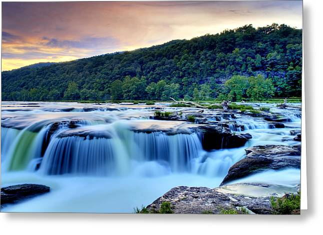 Sandstone Falls At Sunset In West Virginia   Hdr Greeting Card