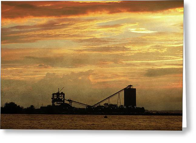 Sandusky Coal Dock Sunset Greeting Card