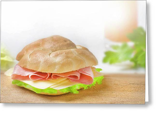 Sandwich With Ham And Green Lettuce And Cheese Greeting Card