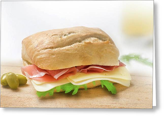Sandwich With Prosciutto Cheese And Rukola Greeting Card