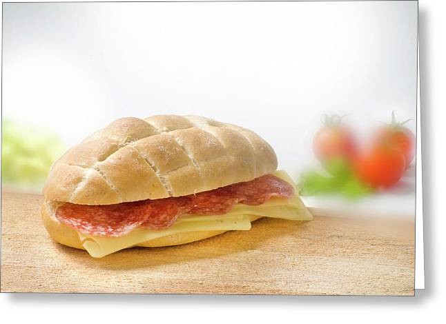 Sandwich With Salami And Cheese Greeting Card