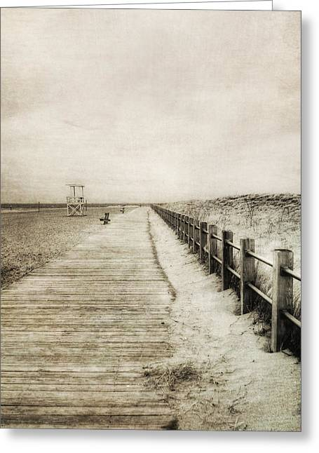 Sandy Beach Pathway - Milford Ct. Greeting Card by Joann Vitali