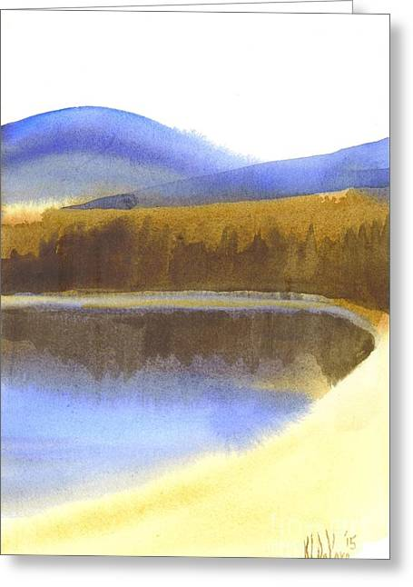 Greeting Card featuring the painting Sandy Blue Dusky Mountain Lake by Kip DeVore