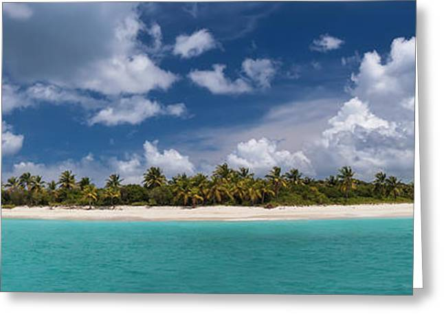 Sandy Cay Beach British Virgin Islands Panoramic Greeting Card by Adam Romanowicz