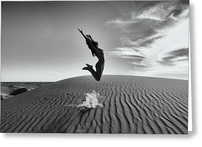 Sandy Dune Nude - The Jump Greeting Card