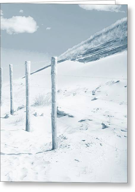 Greeting Card featuring the photograph Sandy Dunes. Series Ethereal Blue by Jenny Rainbow