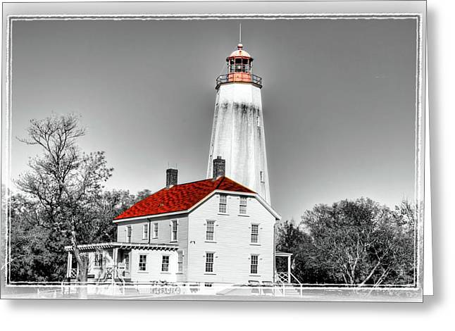 Sandy Hook Lighthouse And Selective Coloring  Greeting Card by Geraldine Scull