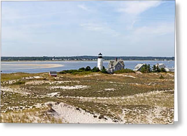 Sandy Neck Lighthouse With Fishing Boat Greeting Card