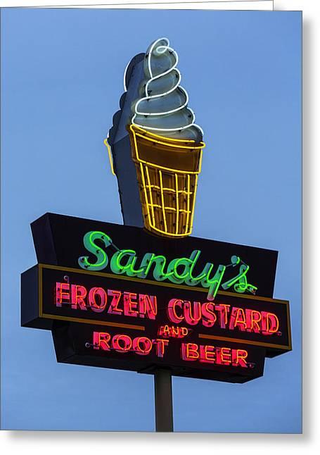 Sandys Frozen Custard - Austin Greeting Card by Stephen Stookey