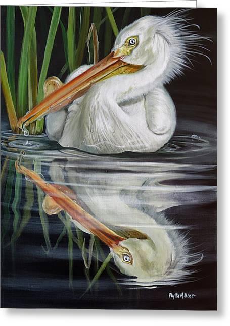 Sandy's Pelican Greeting Card by Phyllis Beiser