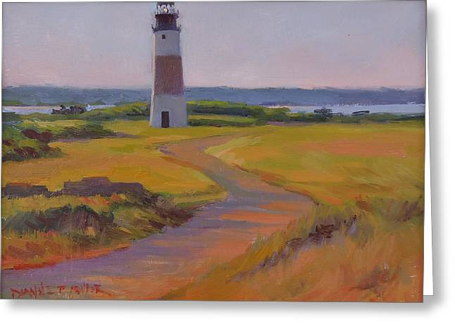 Sankaty Head Lighthouse Greeting Card by Dianne Panarelli Miller