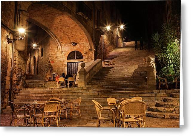 Sant Domenec Stairs In Girona At Night Greeting Card by Artur Bogacki