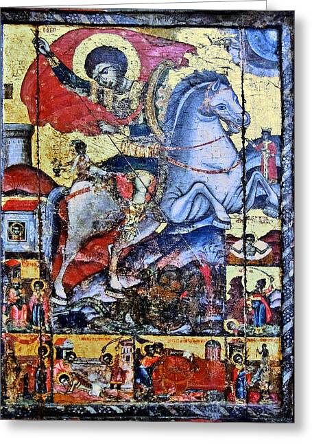 Sant George Slaying The Dragon. Greeting Card