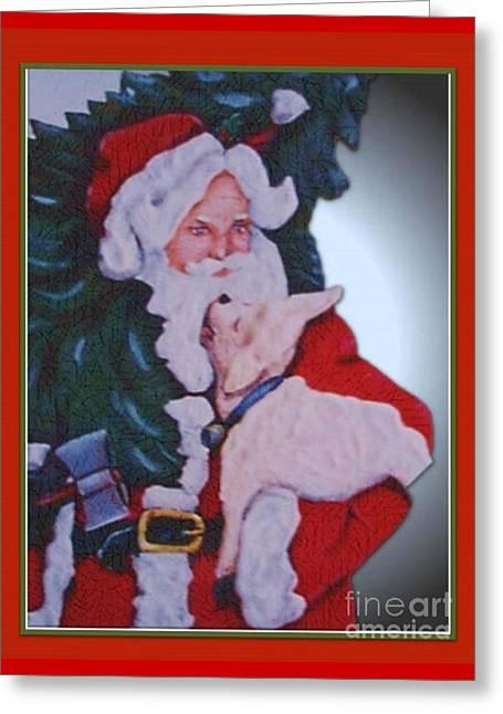Santa And A Lamb Greeting Card