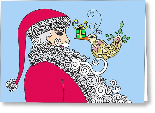 Santa And Bird On Blue Greeting Card