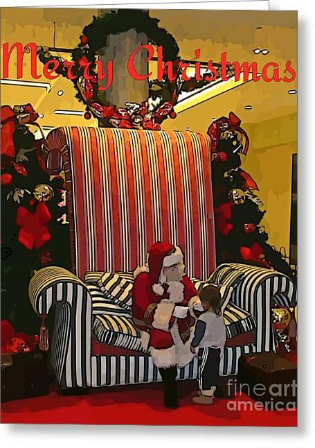 Santa And Child Greeting Card by John Malone