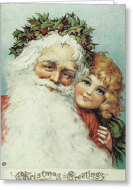 Santa And His Little Admirer Greeting Card
