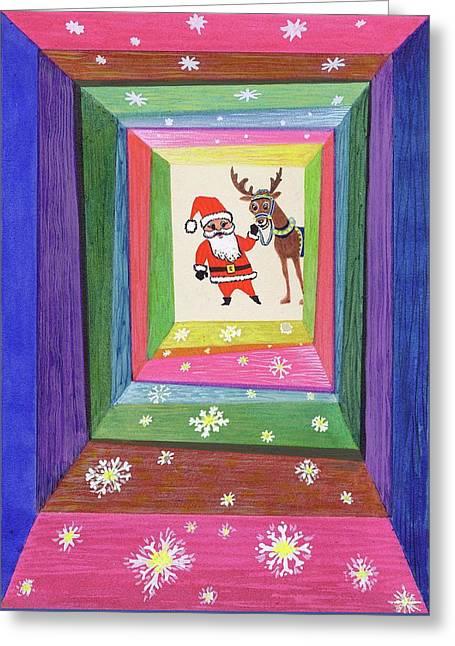 Santa And His Reindeer Greeting Card