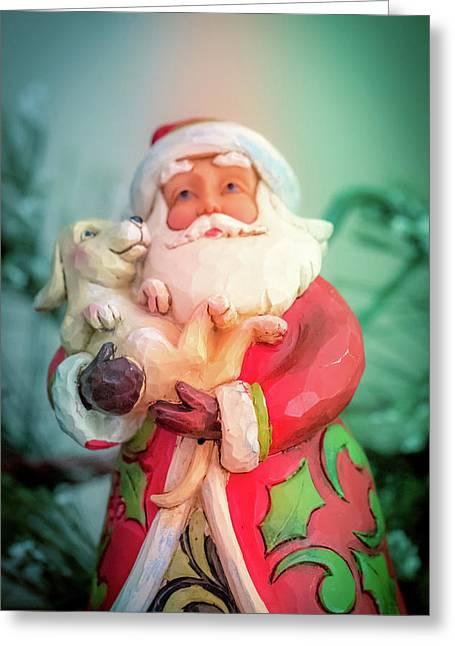 Santa And Lab Pup Greeting Card