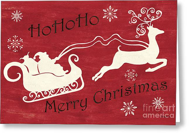 Santa And Reindeer Sleigh Greeting Card by Debbie DeWitt