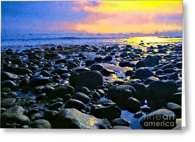Santa Barbara Beach Sunset California Greeting Card